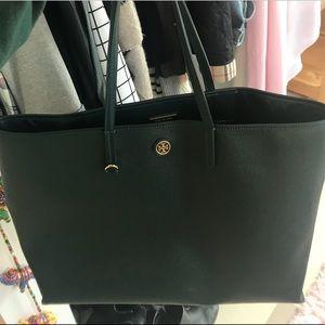 Tory Burch Dark Green Tote Bag
